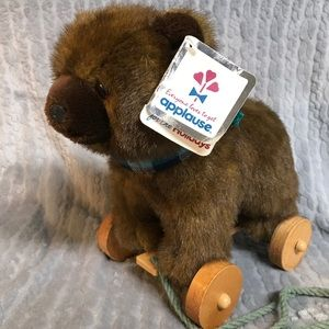 NWT Applause Nostalgic Brown Bear On Wheels